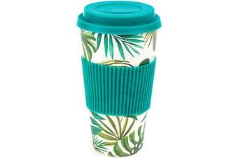 (590ml, Polynesia) - Cambridge CM05909 Large Polynesia Eco Travel Mug, Bamboo, Blue, 10 x 10 x 18 cm