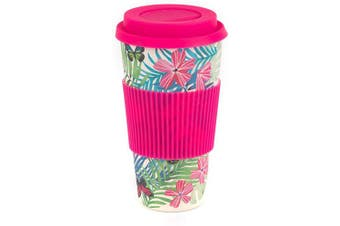 (590ml, Tropical Forest) - Cambridge CM05972 Bamboo Tropical Forest Reusable Coffee Cup Travel Mug