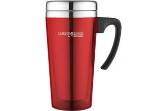 (Soft Touch Red) - Thermos ThermoCafé Soft Touch Travel Mug, Red, 420 ml