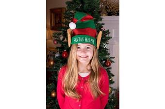 (02 - Santa's Helper Hat) - Clever Creations Christmas Elf Hat | One Size Fits Most | Red and Green Striped Santa's Helper Elf Hat with White Pom Pom and Elf Ears | Measures 29cm x 43cm