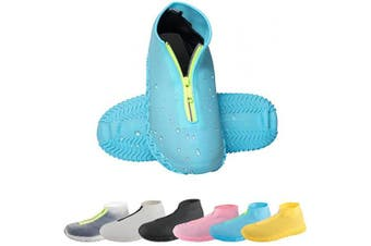 (Medium, Blue) - CHUHUAYUAN Waterproof Silicone Shoe Covers, Reusable Foldable Not-Slip Rain Shoe Covers with Zipper,Shoe Protectors Overshoes Rain Galoshes for Kids,Men and Women(1 Pair)