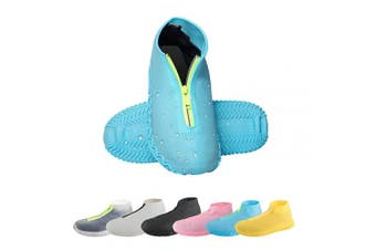 (Small, Blue) - CHUHUAYUAN Waterproof Silicone Shoe Covers, Reusable Foldable Not-Slip Rain Shoe Covers with Zipper,Shoe Protectors Overshoes Rain Galoshes for Kids,Men and Women(1 Pair)