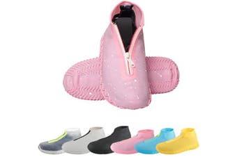 (Medium, Pink) - CHUHUAYUAN Waterproof Silicone Shoe Covers, Reusable Foldable Not-Slip Rain Shoe Covers with Zipper,Shoe Protectors Overshoes Rain Galoshes for Kids,Men and Women(1 Pair)