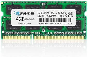 (DDR3 1600 SODIMM, 4GB PC3L 12800S Green) - 4GB Ram, ROYEMAI DDR3 1600 PC3-12800 1.35V CL11 204-pin 2Rx8 PC3 12800S PC3/PC3L DDR3L/ DDR3 SODIMM RAM DDR3 Notebook RAM Memory for Laptop