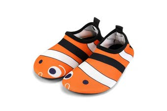 (12.5/13 UK Child, Fish) - bridawn Kids Water Shoes Toddler Swim Shoes Quick Dry Non-Slip Barefoot Aqua Socks for Beach Pool