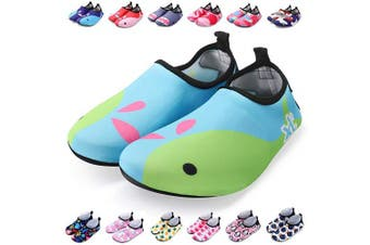 (13.5/14 UK Child, Light Blue Whale) - bridawn Kids Water Shoes Toddler Swim Shoes Quick Dry Non-Slip Barefoot Aqua Socks for Beach Pool