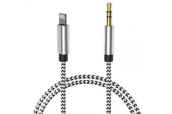 (Silver-Braided) - Aux Cable for Car, 【Nylon Braided】 3.3ft 3.5mm Male Aux Cord for Car Compatible with iPhone 11/11 Pro/XS/XR/X 8/7 Plus to Car Stereo, Speaker, Headphones, Support iOS 11 12 13 – 1M (Silver-Braided)