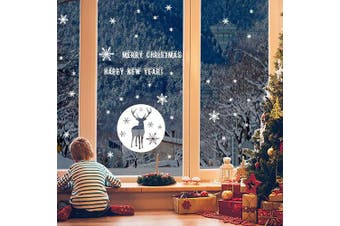 (35-002, White) - Christmas Window Stickers, Snowflakes Window Clings Wall Decal Sticker, Snowflakes Decorations Stickers Christmas Window Decorations Decals for Christmas Celebration New Year Supplies (White, 35-002)