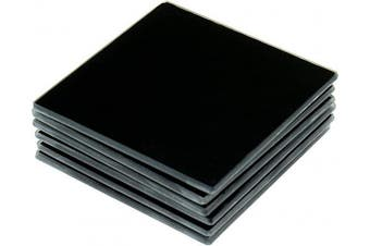 (Black (03 - Black)) - Clever Chef Glass Coaster Non Slip Durable Shock Resistant Square Glass Coasters Black (03 - Black)