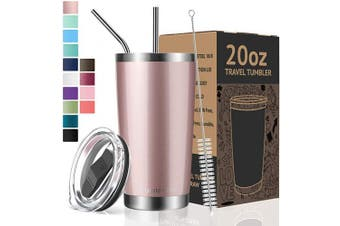 (590ml, Rose Gold) - Umite Chef Tumbler Double Wall Stainless Steel Vacuum Insulated Travel Mug with Lid, Insulated Coffee Cup, 2 Straws, for Home, Outdoor, Office, School, Ice Drink, Hot Beverage (Rose Gold, 590ml)