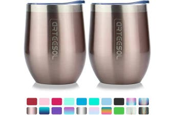 (2pcs, Simple pink) - arteesol Coffee Cup - 350ml Stainless Steel Travel Mug Coffee Mug - Double Wall Vacuum Insulated Tumbler with lid Fit for Coffee, Wine, Cocktails, Ice Cream (Simple pink, 2pcs)