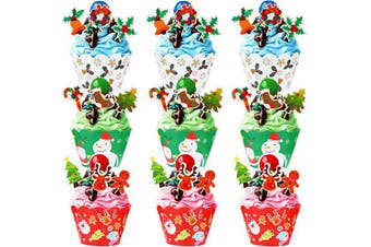 144 Pieces Christmas Cupcake Wrappers and Toppers Kit Cake Decoration with Christmas Tree Santa Claus Snowman Reindeer Design for Christmas Party Decoration