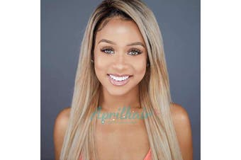 (46cm inch, Straight) - Aprilhair Pre-plucked Ombre #1B/27 Dark Root Honey Blonde 360 Lace Frontal Wigs Straight Glueless 150% Density Brazilian Virgin Human Hair With Baby Hair Full And Thick (46cm )