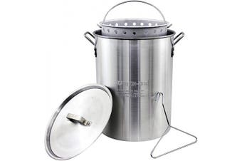 (Original Version) - Chard ASP30, Aluminium Stock Pot and Perforated Strainer Basket with Safety Hanger, 28.4l