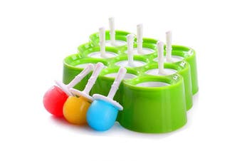 (9 Pcs (Green)) - Mini Silicone Ice Cream Moulds Popsicle Moulds - BPA-Free Ice Pop/Stick Ice Cream/Lolly Maker Tool Set, Wonderful Tools for Party DIY Food Grade Perfect for Making Cream at Home Or Shop