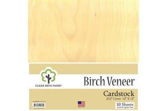 (30cm  x 30cm  - 10 Sheets) - Birch Wood Veneer Cardstock - 30cm x 30cm - .30cm Thick - 10 Sheets