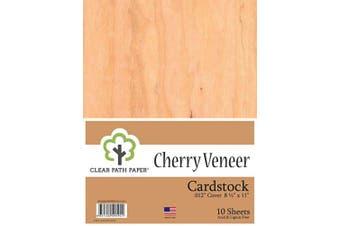 (22cm  x 28cm  - 10 Sheets) - Cherry Wood Veneer Cardstock - 22cm x 28cm - .30cm Thick - 10 Sheets