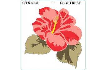 """(CrafTreat Stencil - Layered Hibiscus 6""""X6"""") - CrafTreat Hawaiian Flower Stencils for Painting on Wood, Wall, Tile, Canvas, Paper, Fabric and Floor - Layered Hibiscus - 15cm x 15cm - Reusable DIY Art and Craft Stencils - Hibiscus Flower Stencil"""