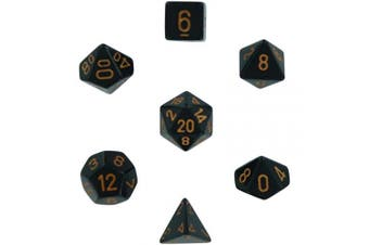 Polyhedral 7-Die Opaque Chessex Dice Set - Black with Gold Numbers by Chessex