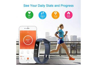 (Blue) - LETSCOM Fitness Tracker with Heart Rate Monitor, Slim Sports Activity Tracker Watch, Waterproof Pedometer Watch with Sleep Monitor, Step Tracker for Kids, Women, and Men
