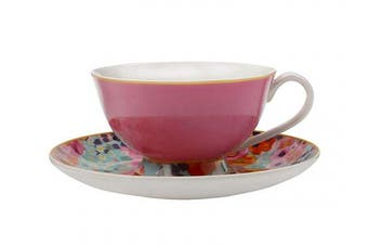 (Pink/Blue) - Maxwell Williams Cashmere Bloems Tea Cup & Saucer, Gift Boxed, Bone China, Pink / Blue, 200 ml