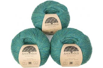 (#1 Lace, Green Jade Heather) - (Set of 3) 100% Baby Alpaca Yarn Lace #1 (150 Grammes Total) Luxurious Cosy and Caring Soft to Enjoy Knitting, Crocheting and Weaving - Gorgeous Twist and Stitch Definition (Green Jade Heather)