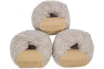 (#3 DK - Light, Sand Stone Heather) - 100% Baby Alpaca Yarn (Weight #3) DK - Set of 3 - AndeanSun - Luxuriously Soft for Knitting, Crocheting - Great for Baby Garments, Scarves, Hats, and Craft Projects - (Sand Stone Heather)