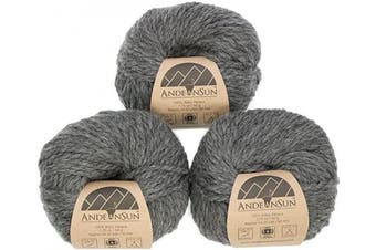 (#5 Bulky, Medium Gray) - (Set of 3) 100% Baby Alpaca Yarn Bulky #5 (150 Grammes Total) Luxurious Cosy and Caring Soft to Enjoy Knitting, Crocheting and Weaving - Gorgeous Twist and Stitch Definition (Medium Grey)