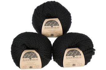(#5 Bulky, Black) - (Set of 3) 100% Baby Alpaca Yarn Bulky #5 (150 Grammes Total) Luxuriously Cosy and Caring Soft to Enjoy Knitting, Crocheting and Weaving - Gorgeous Twist and Stitch Definition (Black)