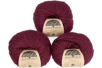 (#5 Bulky, Burgundy) - (Set of 3) 100% Baby Alpaca Yarn Bulky #5 (150 Grammes Total) Luxurious Cosy and Caring Soft to Enjoy Knitting, Crocheting and Weaving - Gorgeous Twist and Stitch Definition (Burgundy)