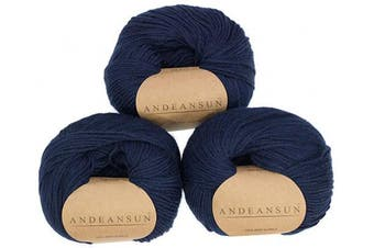 (#3 DK - Light, Marine Blue) - 100% Baby Alpaca Yarn (Weight #3) DK - Set of 3 - AndeanSun - Luxuriously Soft for Knitting, Crocheting - Great for Baby Garments, Scarves, Hats, and Craft Projects - (Marine Blue)