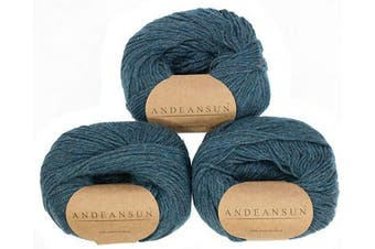 (#3 DK - Light, Ocean Green Heather) - (Set of 3) 100% Baby Alpaca Yarn DK #3 (150 Grammes Total) Luxuriously Cosy and Caring Soft to Enjoy Knitting, Crocheting and Weaving - Gorgeous Twist and Stitch Definition (Ocean Green Heather)
