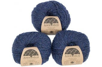(#5 Bulky, Denim Heather) - (Set of 3) 100% Baby Alpaca Yarn Bulky #5 (150 Grammes Total) Luxurious Cosy and Caring Soft to Enjoy Knitting, Crocheting and Weaving - Gorgeous Twist and Stitch Definition (Denim Heather)