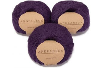 (#3 DK - Light, Dark Purple) - (Set of 3) 100% Baby Alpaca Yarn DK #3 (150 Grammes Total) Luxurious Cosy and Caring Soft to Enjoy Knitting, Crocheting and Weaving - Gorgeous Twist and Stitch Definition (Dark Purple)