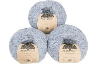 (#1 Lace, Silver Light Blue) - (Set of 3) 100% Baby Alpaca Yarn Lace #1 (150 Grammes Total) Luxuriously Cosy and Caring Soft to Enjoy Knitting, Crocheting and Weaving - Gorgeous Twist and Stitch Definition (Silver Light Blue)
