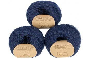 (#4 Worsted, Denim Heather) - (Set of 3) 100% Baby Alpaca Yarn Worsted #4 (150 Grammes Total) Luxurious Cosy and Caring Soft to Enjoy Knitting, Crocheting and Weaving - Gorgeous Twist and Stitch Definition (Denim Heather)