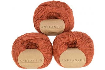 (#3 DK - Light, Pumpkin Patch) - (Set of 3) 100% Baby Alpaca Yarn DK #3 (150 Grammes Total) Luxurious Cosy and Caring Soft to Enjoy Knitting, Crocheting and Weaving - Gorgeous Twist and Stitch Definition (Pumpkin Patch)