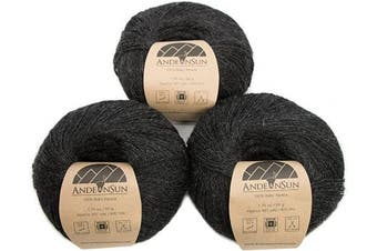(#1 Lace, Charcoal) - (Set of 3) 100% Baby Alpaca Yarn Lace #1 (150 Grammes Total) Luxurious Cosy and Caring Soft to Enjoy Knitting, Crocheting and Weaving - Gorgeous Twist and Stitch Definition (Charcoal)