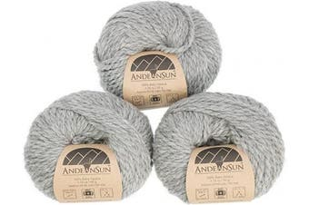 (#5 Bulky, Light Gray) - (Set of 3) 100% Baby Alpaca Yarn Bulky #5 (150 Grammes Total) Luxuriously Cosy and Caring Soft to Enjoy Knitting, Crocheting and Weaving - Gorgeous Twist and Stitch Definition (Light Grey)