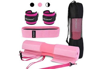 (Pink) - bridawn Barbell Pad Set for Squats Hip Thrusts Upgraded Bar Neck Pads Workout Foam Weightlifting Cushion with 2 Gym Ankle Straps Hip Resistance Band Fits Standard Olympics Bars with a Carry Bag