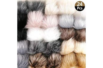 (C-Color) - Cieovo 24 Pieces Faux Fur Pom Poms Balls DIY Faux Fox Fur Fluffy Pom Pom with Elastic Loop for Hats Keychains Gloves Shoes Scarves Bag Accessories (12 Colours)