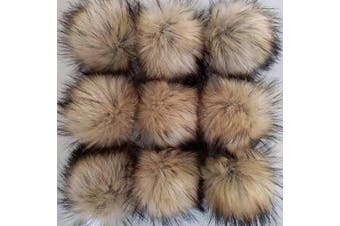 (A-Color) - CIEOVO 24 Pieces Faux Fur Pom Pom Ball DIY Fur Pom Poms for Hats Shoes Scarves Bag Pompoms Keychain Charms Knitting Hat Accessories (Natural Colour)