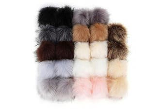 COCODE 24Pcs Faux Fur Pom Pom Balls for Hats, DIY Faux Fox Fur Fluffy Pom Poms with Elastic Loop Detachable Knitting Hat Accessories for Hats Keychains Shoes Gloves Bags(12 Colours,2 Pcs for Each Colour