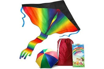aGreatLife Rainbow Kite with Storage Bag and Umbrella Hat - Enjoy and have Fun with Family and Friends with a Kite that Soars High and Easy to Fly!