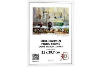 """(20 x 25 cm (ca. 8 x 10""""), White) - 3-B Bilderrahmen FOTO - 20x25 cm - weiß - Fotorahmen, Kunststoffrahmen mit Polyesterglas."""