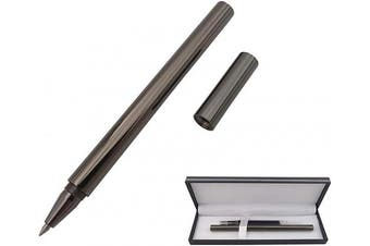 (Gray) - Accod Metal Ballpoint Pen Black Rollerball Pen Signature Pen with Two 0.5MM Black Pen Refills,Gift Pen for Colleagues and Family,Gift Boxed (Grey)