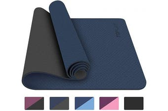 (navy blue) - TOPLUS Yoga Mat - Classic 0.6cm Pro Yoga Mat Eco Friendly Non Slip Fitness Exercise Mat with Carrying Strap-Workout Mat for Yoga, Pilates and Floor Exercises