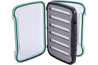 "(Type 2 - 288 Foam Slits 6.1""x4.1""x1.9"") - Bassdash Waterproof Fly Box Single/Double Sided Fishing Flies Storage with Foam/Silicone Slits Insert"