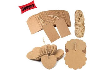 (Brown) - Gift Tags Kraft Paper Tag DIY Tags 300 PCS Rectangle Kraft Paper Hang Tags Labels with 30 Metres for Luggage Tags, Price Tags