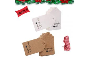 (Brown and White) - Kraft Paper Tag Gift Tag Handmade with Love Tags Red Rope 20m for DIY Hanging Decorative Label Christmas Label Price Tag